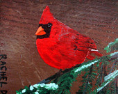 A Crisp Evening with Mr. Jones, Northern Cardinal, by artist Rachel Dickson